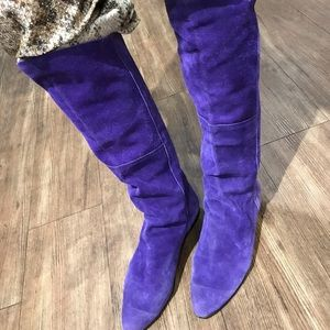 Vintage purple suede knee high boots